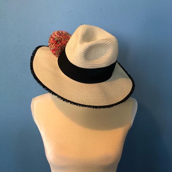 NWT Betsey Johnson Pom Pom Sun Hat Fedora 84fc4affeaa9